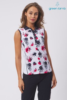 Green Lamb White Edie Sleeveless Printed Panel Polo