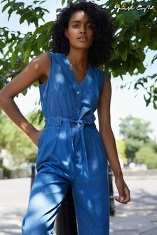 Phase Eight Blue Everly Chambray Cropped Jumpsuit