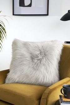 Silver Grey Arctic Cosy Faux Fur Square Cushion