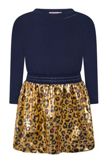 Girls Blue And Gold Leopard Print Dress