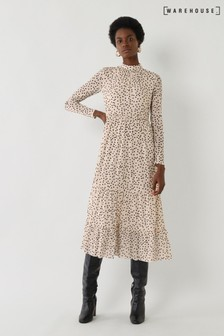 Warehouse Cream Spot Mesh Tiered Midi Dress