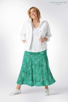 Live Unlimited Green Non Print Viscose Morrocain Skirt