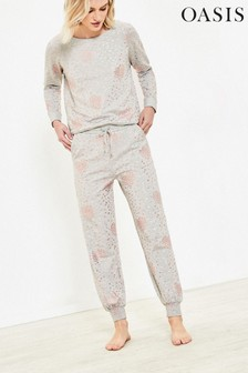 Oasis Grey Heart Foil Joggers