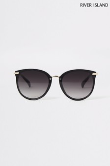 River Island Black Thea Retro Laid On Lens Sunglasses