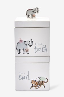 White First Tooth and Curl Safari Print Stacking Boxes
