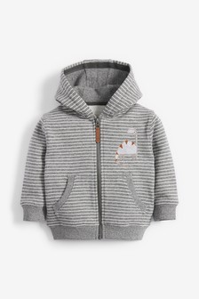 Stripe Dino Appliqué Zip Through Hoody (3mths-7yrs)