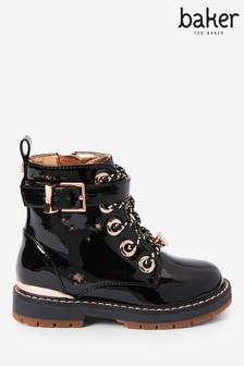 Baker By Ted Baker Black Patent Lace Up Ankle Boots