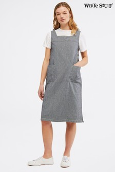 White Stuff Blue Arty Stripe Pinny Dress