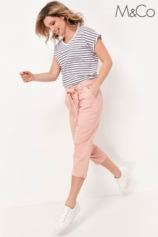 M&Co Pink Paperbag Waist Cargo Trousers