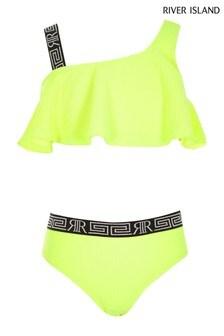 River Island Lime Texture Asymmetric Shelf Bikini