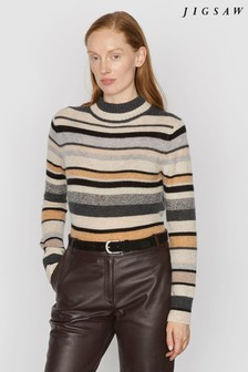 Jigsaw Natural Cashmere Mixed Stripe Jumper