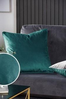 Teal/Grey Mila Twin Velvet Square Cushion