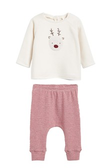 Cosy Reindeer Fleece Jumper And Leggings Set (0mths-2yrs)