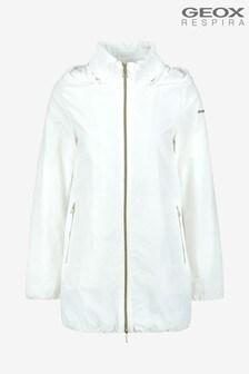 Geox Womens Nayomi White Long Jacket