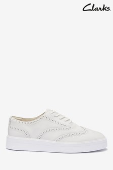 Clarks White Leather Hero Brogue Shoes