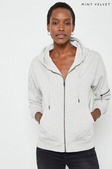 Mint Velvet Grey Zip Through Hoody