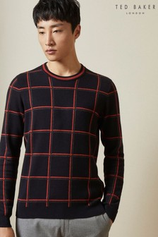 Ted Baker Blue Triton Checked Crew Neck Jumper