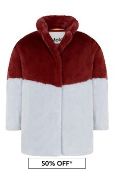 Girls Red And Blue Faux Fur Coat