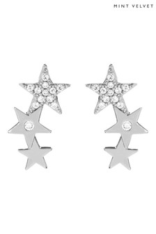 Mint Velvet Silver Tone Star Climber Earrings