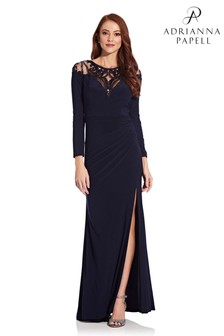 Adrianna Papell Blue Jersey Gown With Sequin Yoke Dress