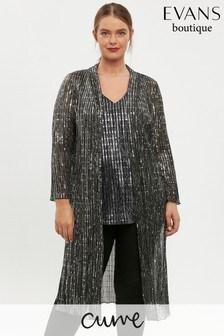 Evans Curve Grey Sequin Kimono