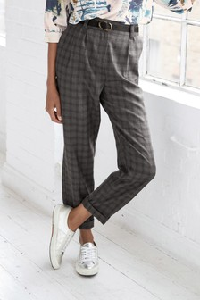 Belted Check Peg Trousers