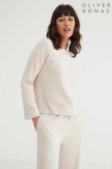 Oliver Bonas Ribbed Jersey White Lounge Long Sleeve Top