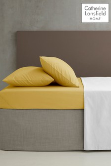 Catherine Lansfield Yellow Percale Extra Deep Fitted Sheet