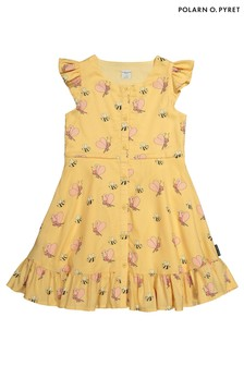 Polarn O. Pyret Yellow Butterflies And Bees Print Dress