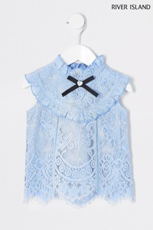 River Island Blue Short Sleeve Lace Frill Top