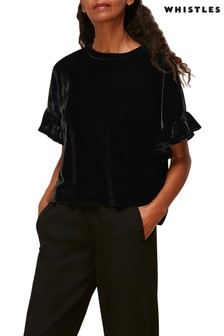 Whistles Black Velvet Frill T-Shirt