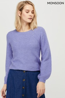 Monsoon Blue Diagonal Rib Jumper
