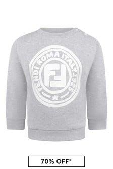 Fendi Kids Baby Boys Blue Cotton Logo Sweater