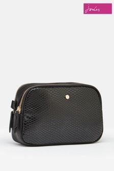 Joules Black Farley PU Camera Cross Body Bag