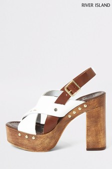 River Island Brown Cross Strap Platform Sandals