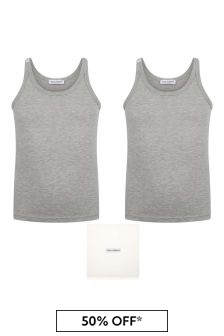 Boys Grey Vest Tops Two Pack