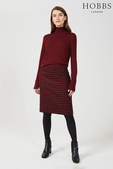 Hobbs Red Daphne Wool Skirt