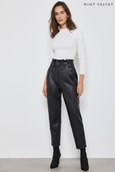 Mint Velvet Black PU Paperbag Trousers