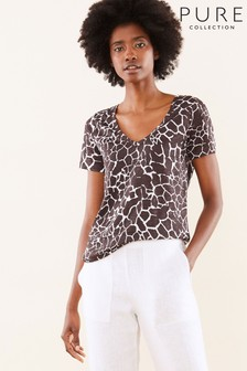 Pure Collection Animal Linen Jersey V-Neck T-Shirt
