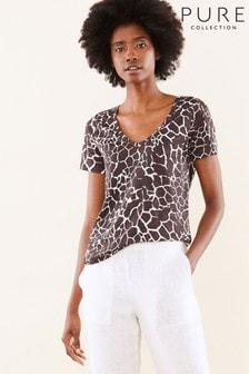 חולצת טי מפשתן ג'רזי עם צוואורן וי דגם Animal של Pure Collection