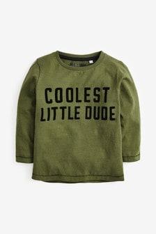 Long Sleeve Jersey Flock Print T Shirt (3mths-7yrs)