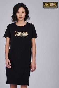 Barbour® International Black Gold Logo Thunderbolt T-Shirt Dress