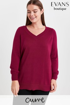 Evans Curve Plum Pointelle V-Neck Jumper
