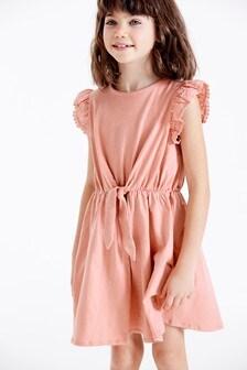 Jersey Broderie Sleeve Dress (3-16yrs)