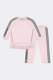 Moncler Enfant Baby Girls Light Pink Cotton Branded Tracksuit