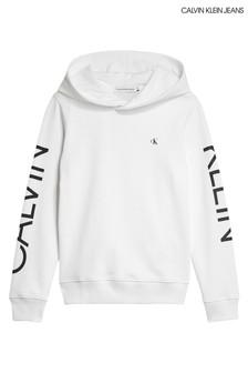 Calvin Klein White Large Logo Hoody
