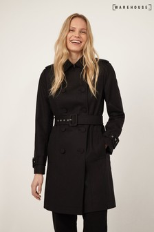 Warehouse Black Femme Mac Coat