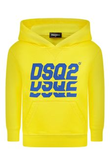 Boys Yellow Cotton Logo Hoody