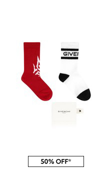 Givenchy Kids Boys White Cotton Sock 2 Pack
