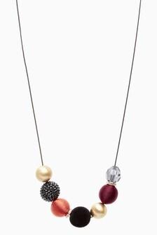 Velvet Beaded Long Necklace
